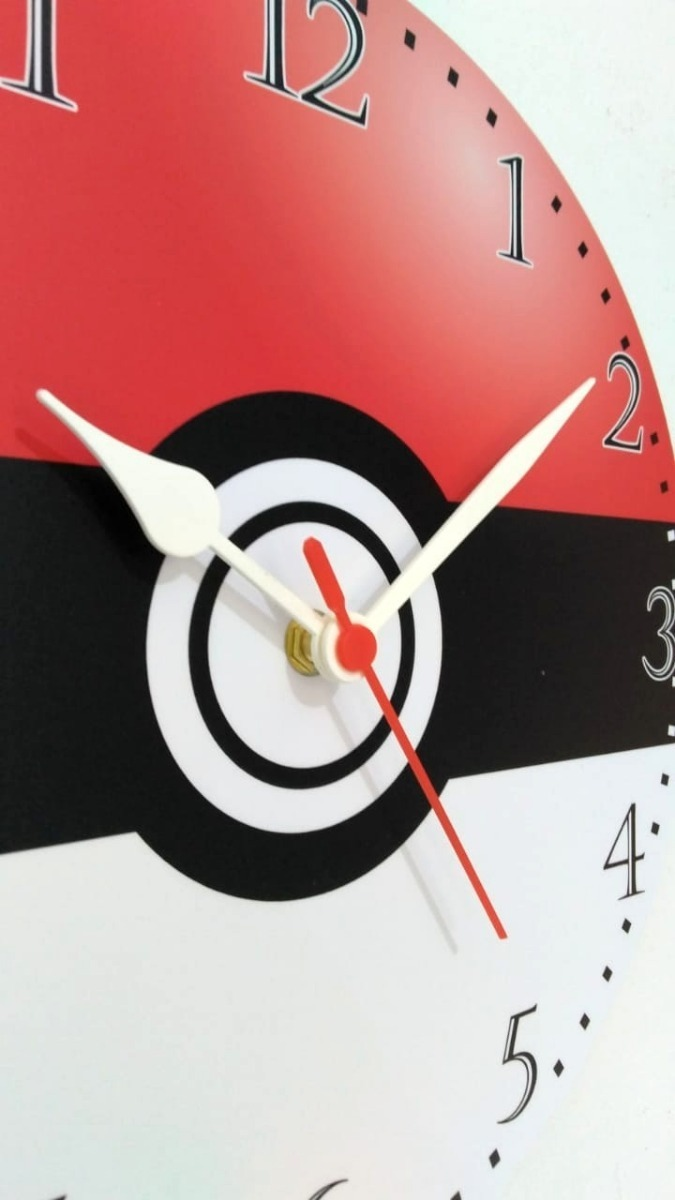 Relogio De Parede Pokemon Pokebola Pikachu Desenho Ash 30cm R
