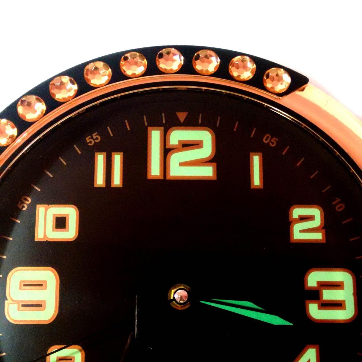 ff01649d62b relógio de parede redondo prata clássico fundo preto barato. Carregando  zoom.