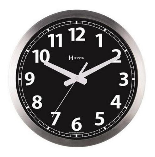 relógio de parede silencioso preto 30 cm alumínio p42 herweg