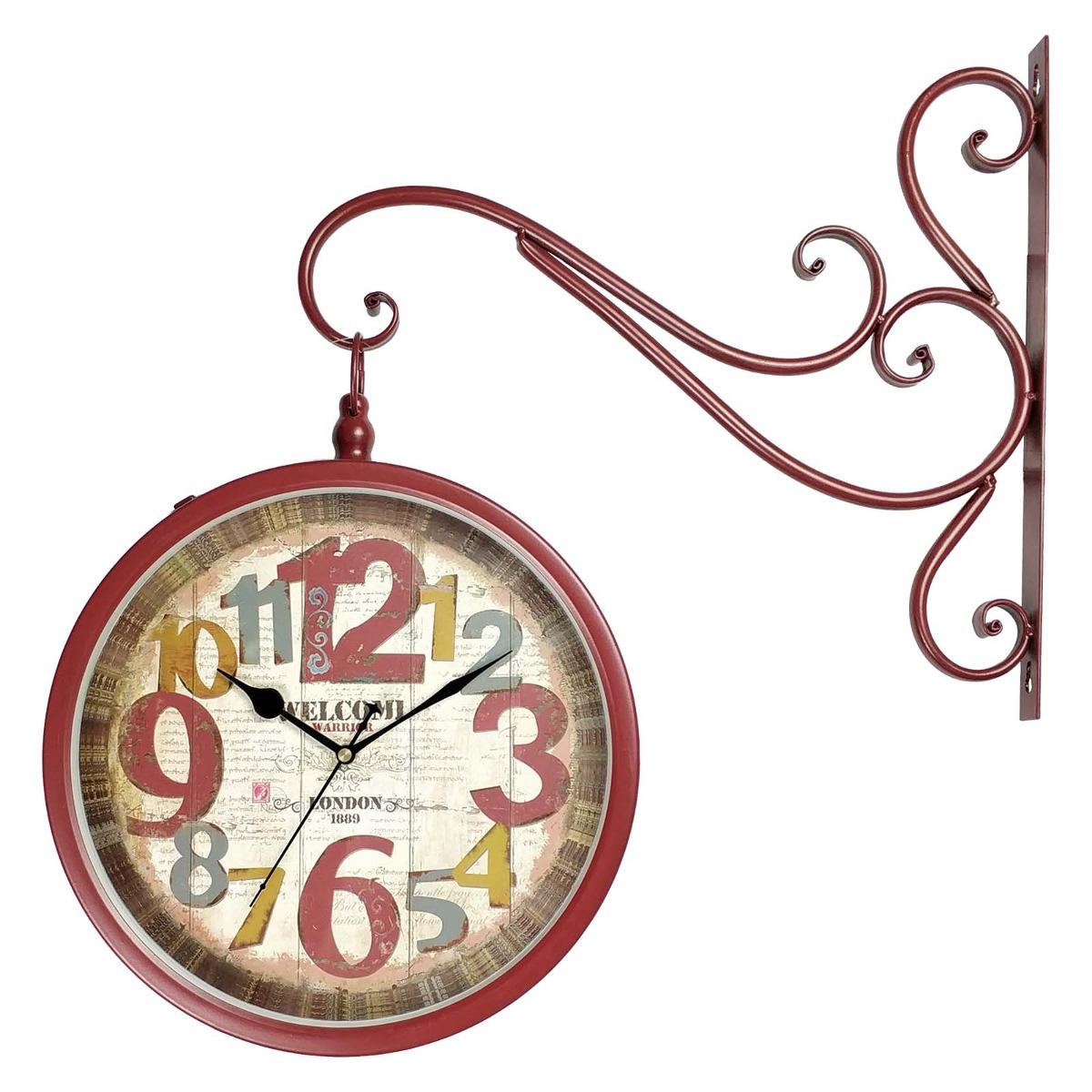 486a355b238 relógio de pendurar com dois lados -vermelho - vintage retrô. Carregando  zoom.