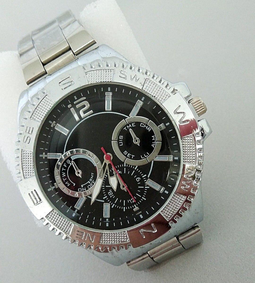 c21ca5bb9c8 relógio de ponteiro prateado esportivo chique masculino moda. Carregando  zoom.