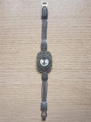 relógio de prata com hematita cod.07