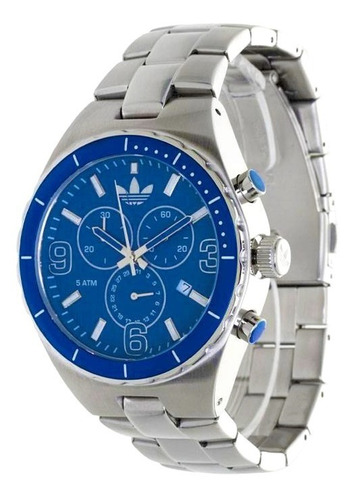 relógio de pulso adidas adh2639z prata e azul original