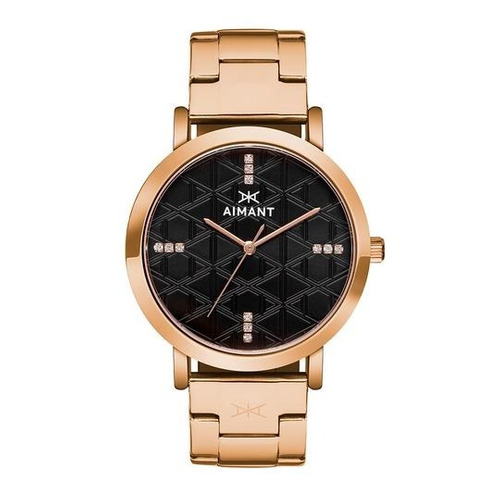 relógio de pulso aimant rose gold black - lpa-200srg-1rg