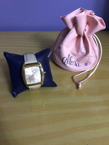 relógio de pulso allora 2035ba dourado couro nude feminino