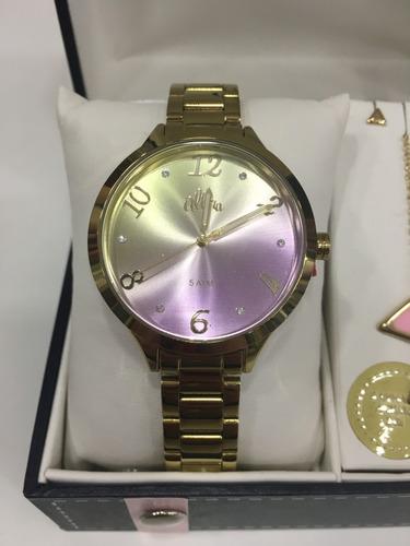 relógio de pulso allora kit colar colorido dourado feminino