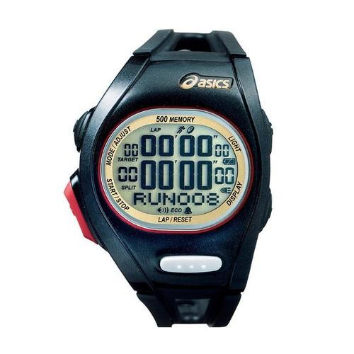 relógio de pulso asics race regular - preto/vermelho