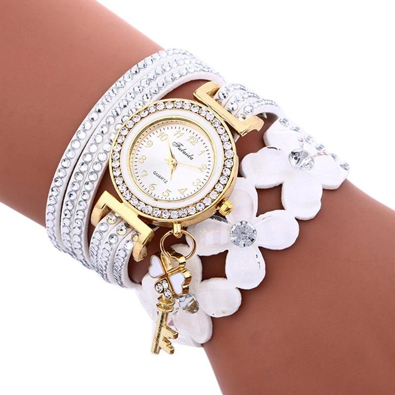 62f5801936c relógio de pulso branco analógico feminino pulseira couro. Carregando zoom.