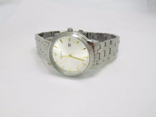 relógio de pulso bulova mod. social c837591 aço inox usado