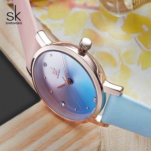relógio de pulso colorido feminino sk