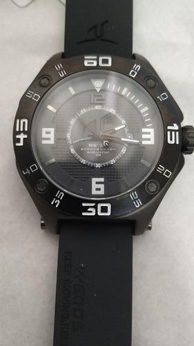 relógio de pulso com pulseira de borracha preto weide rlex
