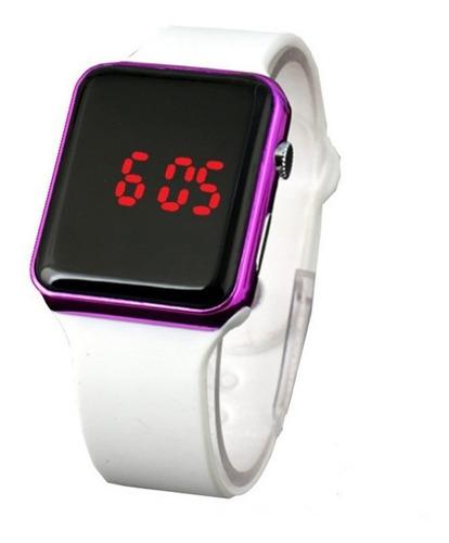 relógio de pulso digital led masculino feminino branco rosa