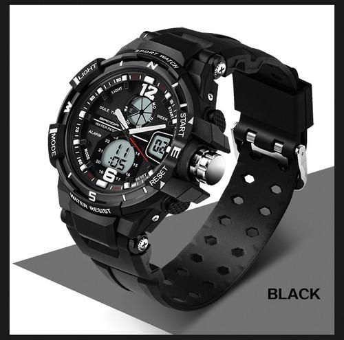 relógio de pulso esportivo masculino sanda preto promoção
