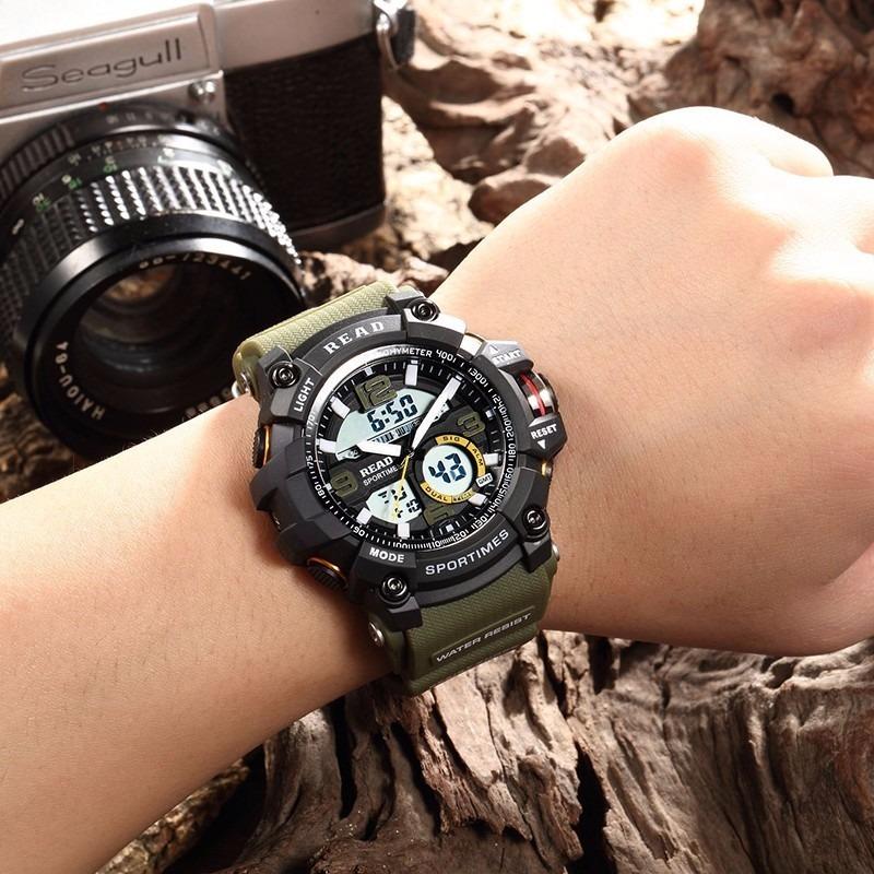 acd4ae0f030 relógio de pulso esportivo masculino verde militar read. Carregando zoom.