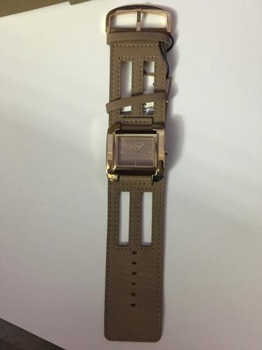 relógio de pulso euro 2035ue pulseira couro marrom feminino