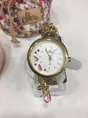 relógio de pulso feminino allora dourado | 2036ffx/k4y