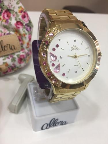 relógio de pulso feminino allora dourado | 2036fgm/4k