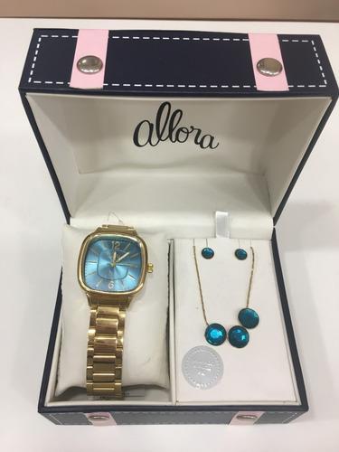 relógio de pulso feminino allora kit turquesa com colar