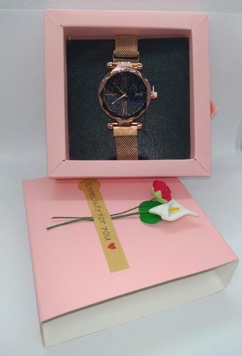 relógio de pulso feminino + bracelete + caixinha com flores