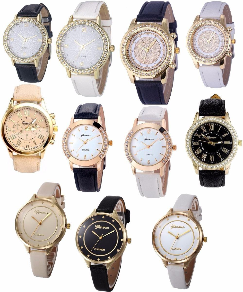 632b56529e1 relógio de pulso feminino c  strass pulseira couro sintético. Carregando  zoom.