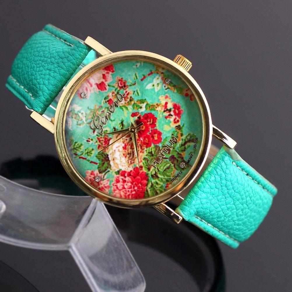 6de8d37850f relógio de pulso feminino floral geneva (importado). Carregando zoom.