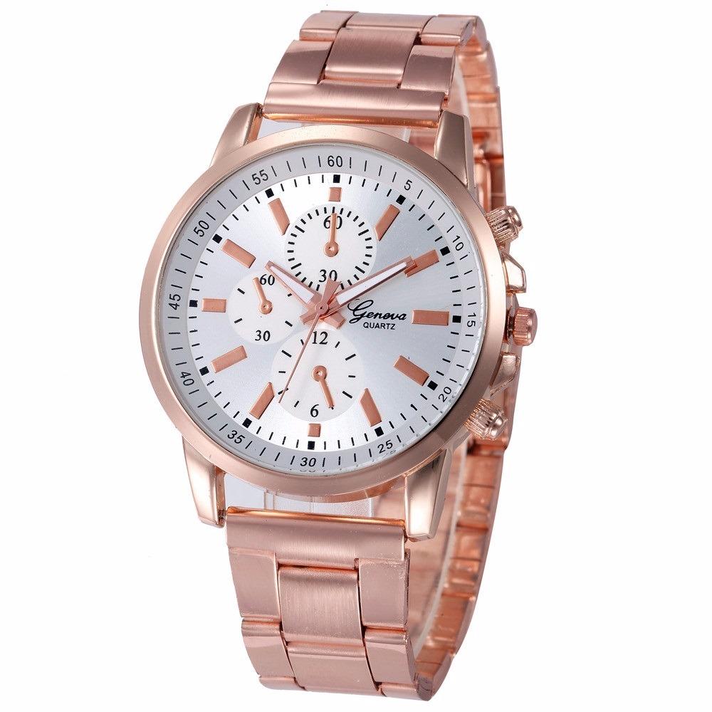 5ab8a73d858 relógio de pulso feminino geneva rosa mulher aço inoxidável. Carregando zoom .