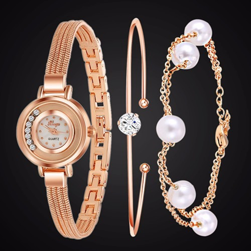 relógio de pulso feminino - na caixa + pulseira + bracelete