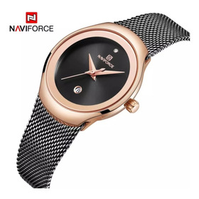 Relógio De Pulso Feminino Naviforce Luxo Super Slim Prova D'água