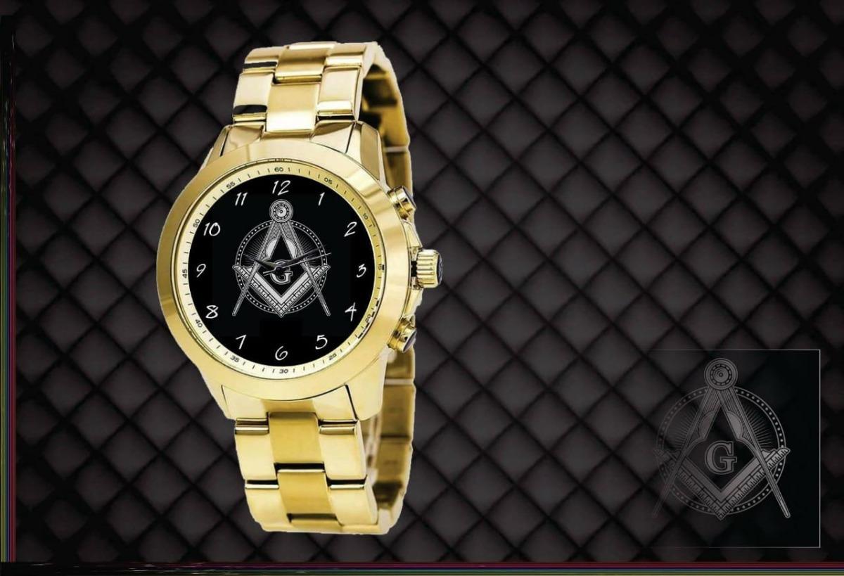 relógio de pulso feminino personalizado dourado maçonaria. Carregando zoom. 0e12ddbc7bbce