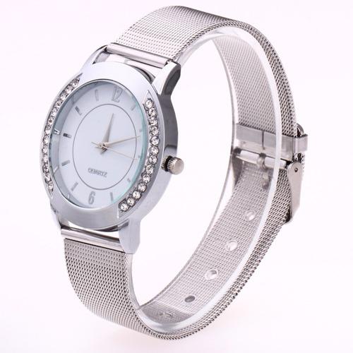 relógio de pulso feminino prata dourado rose com strass luxo