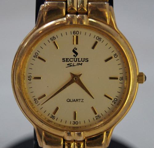 relógio de pulso feminino seculus slim dourado
