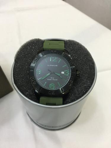 relógio de pulso lince 4134s borracha preto e verde
