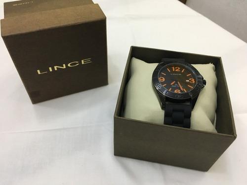relógio de pulso lince 4136s borracha preto básico