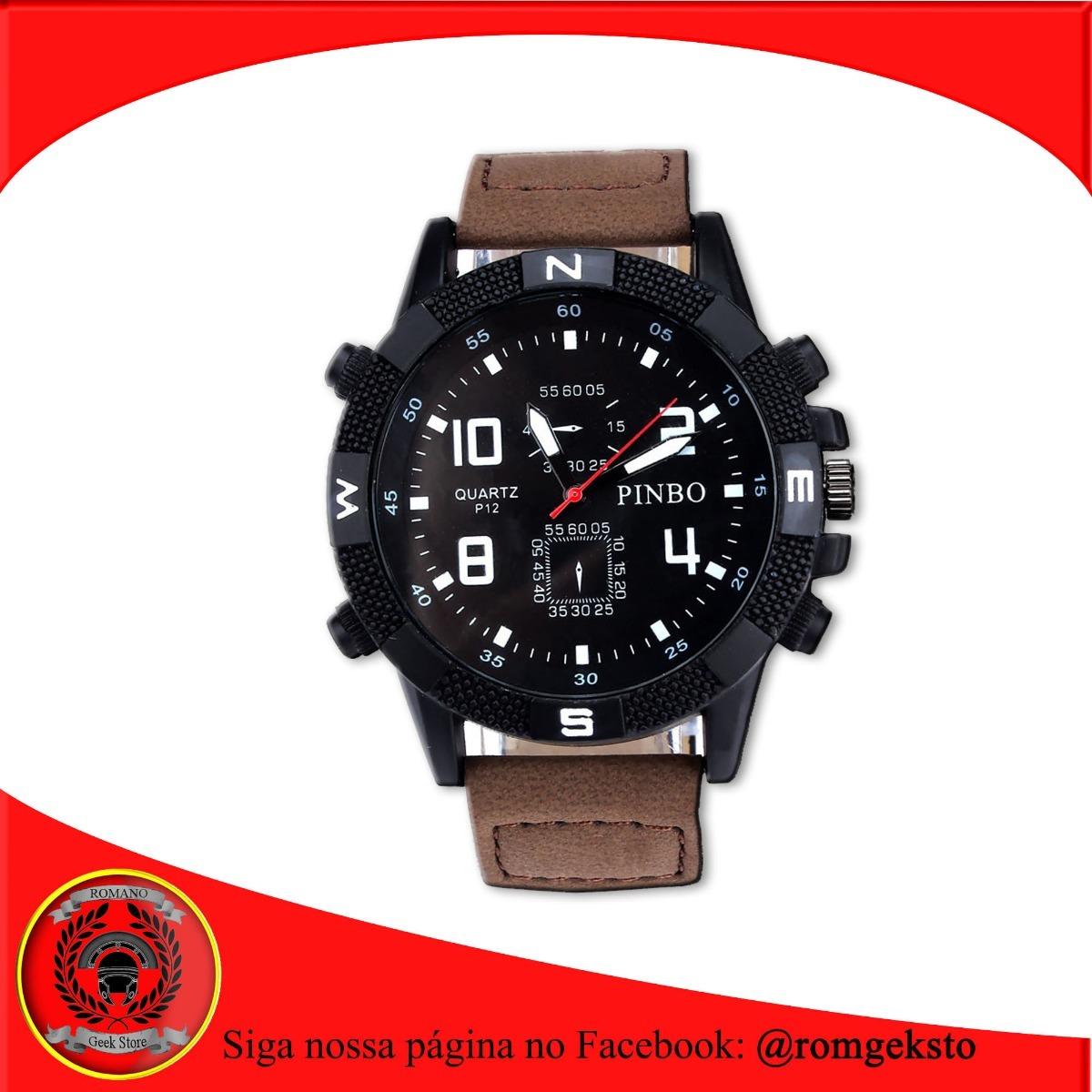 1424112b0df relógio de pulso luxo masculino preto couro e aço oferta! Carregando zoom.
