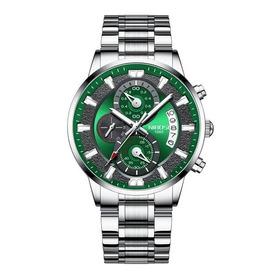 Relógio De Pulso Luxuoso Masculino Nibosi Prata
