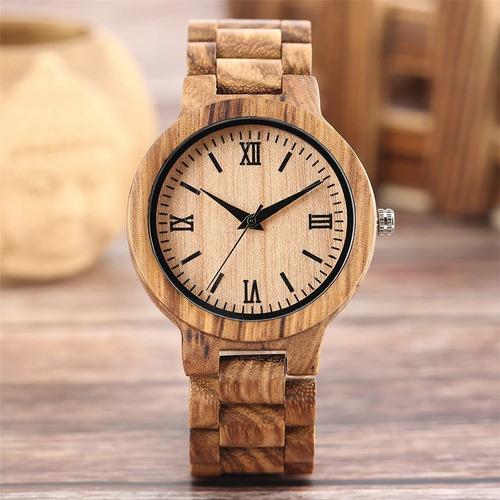 relógio de pulso - madeira clara yisuya - pronta entrega