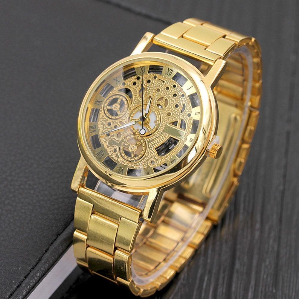 5fc9e328c52 relógio de pulso masculino aço prata e dourado importado. Carregando zoom.