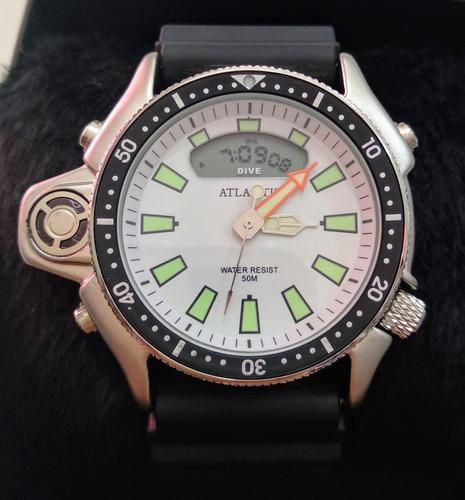 relógio de pulso masculino atlantis mod. aqualand g3220