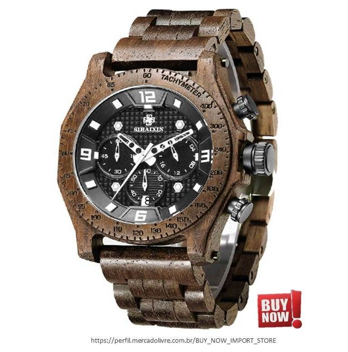 0193ae4cfdc Relógio De Pulso Masculino Casual Em Madeira Sihaixin 4mares - R  329