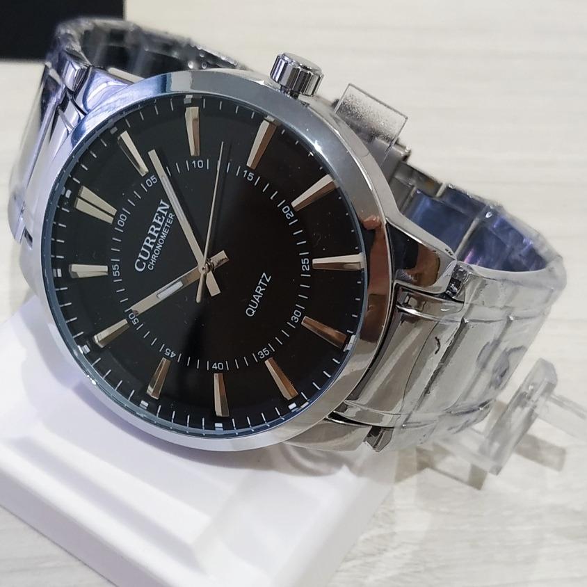 aba814b73ae relógio de pulso masculino curren 8001b original preto prata. Carregando  zoom.