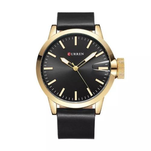 relógio de pulso masculino curren 8208 preto/dourado