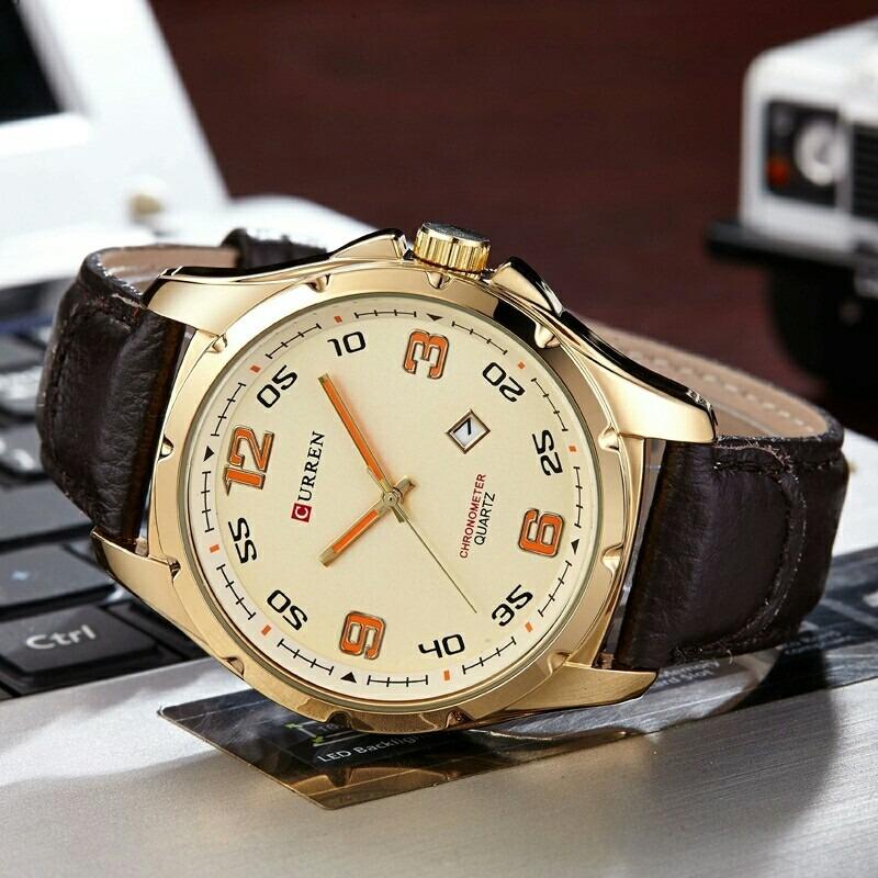 5b465fa2f relógio de pulso masculino curren luxo social pulseira couro. Carregando  zoom.
