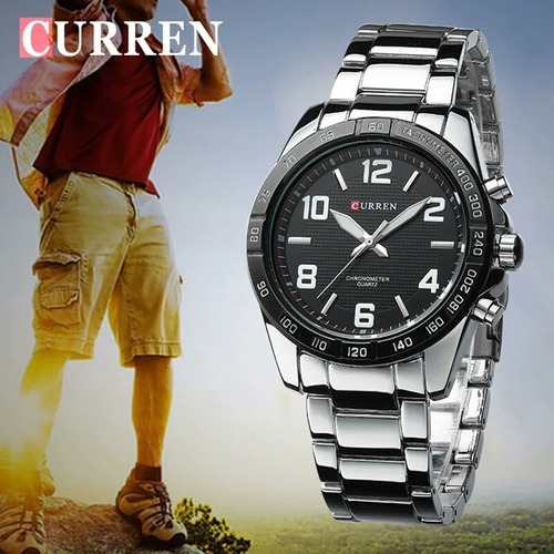 relógio de pulso masculino curren original pulseira de aço