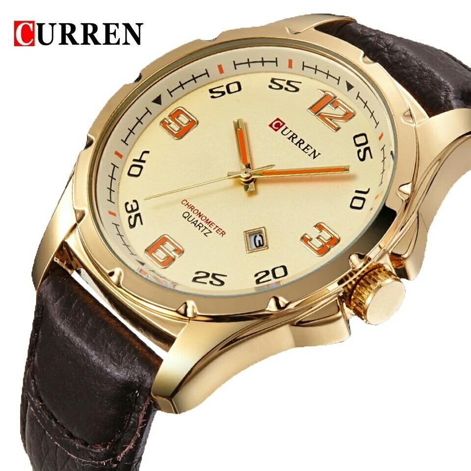 7c74a0edd8406 relógio de pulso masculino curren pulseira couro calendário. Carregando  zoom.