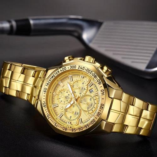 relogio de pulso masculino dourado de luxo prova de água envio imediato