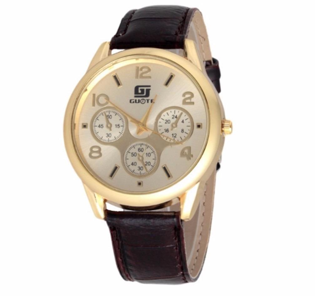 5d7d6fabc50 relógio de pulso masculino dourado pulseira couro preto. Carregando zoom.