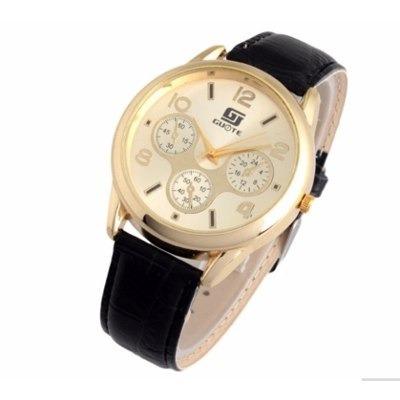 73d767f1c10 Relógio De Pulso Masculino Dourado Pulseira Couro Preto - R  87