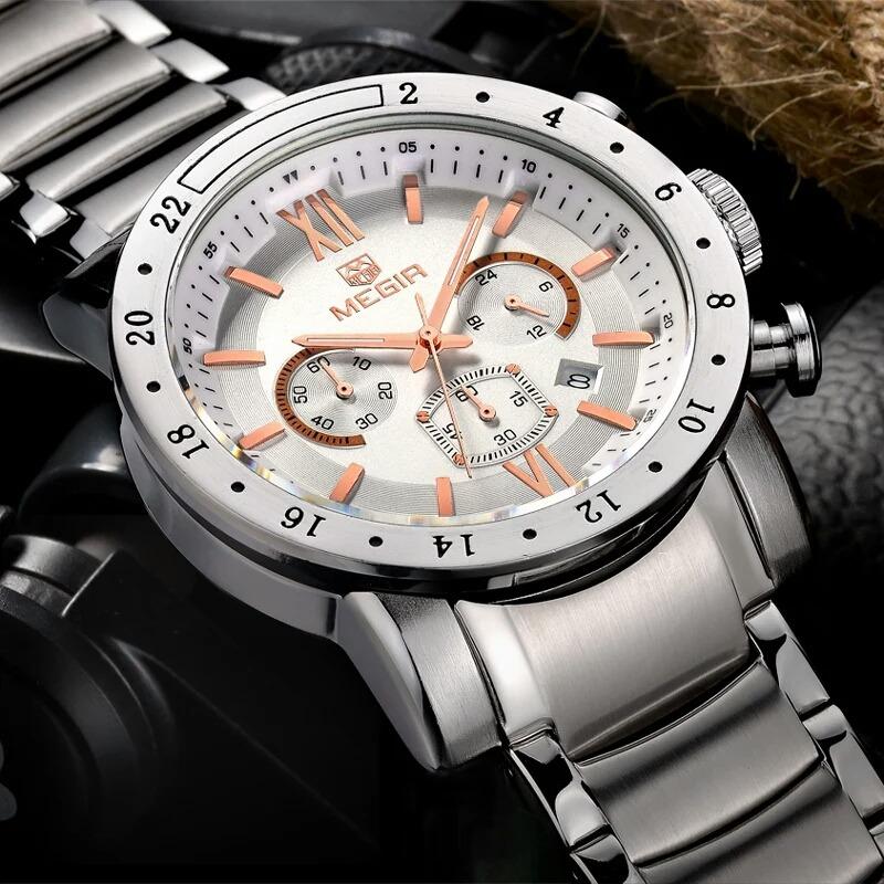 163d93d2877 relógio de pulso masculino megir pulseira aço. Carregando zoom.