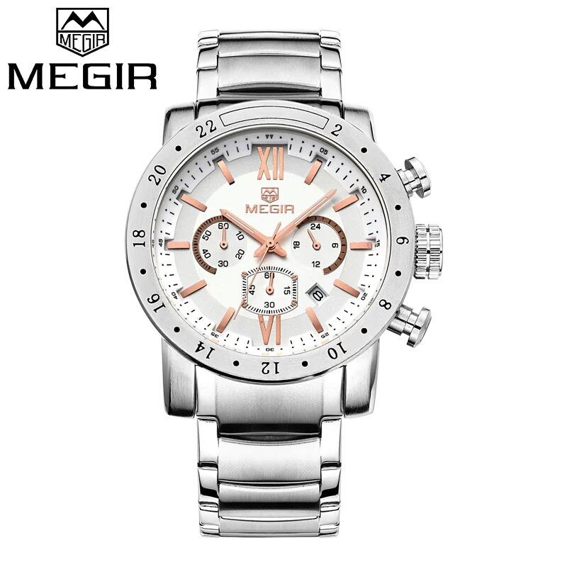 b8f18fad57a relógio de pulso masculino megir pulseira de aço. Carregando zoom.