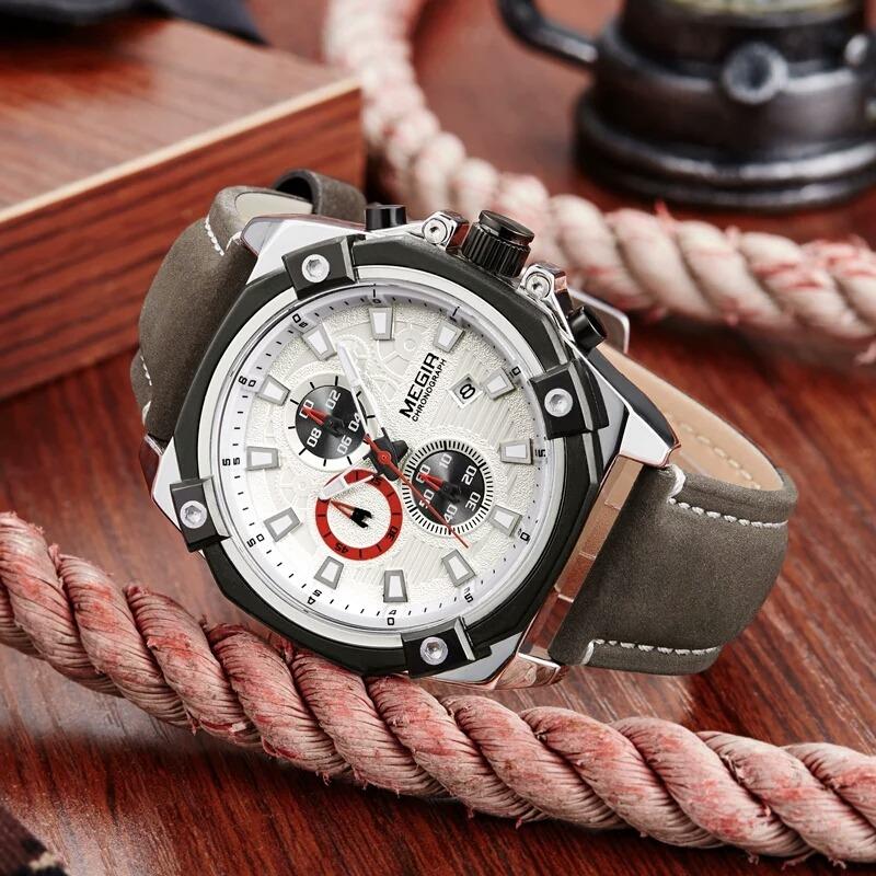 d5f4ae49169 relógio de pulso masculino megir pulseira de couro. Carregando zoom.